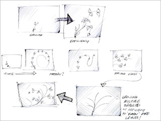 Ford's internal sketches show the progression of <br> the leaf design