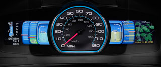 Ford's SmartGauge shows growing leaves as the <br> vehicles is driven more economically