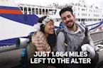 Couple walking 10,000 miles to marry leaves Europe