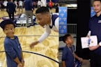 Russell Westbrook and Steph Curry Meet Their Biggest Little Fan, Rapper Young Dylan