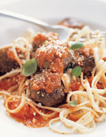 Beef Meatballs with Ribbon Pasta