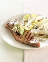 Steak with Anchovy Herb Butter