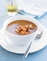 Crab Bisque with Garlic Croutons