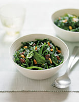 Spinach with Pine Nuts & Raisins