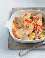 Scrambled Egg Enchiladas with Spinach and Tomatoes