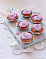 Iced Banana and Raspberry Cupcakes