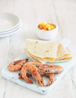 Salt and Pepper Tiger Prawns with Baby Corn and Mango Salsa