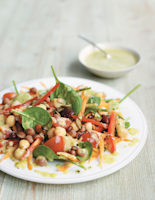 Mixed Pulses and Baby Spinach Salad with Avocado Dressing