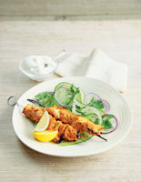 Grilled Tandoori Chicken Skewers with Cucumber and Cumin Salad