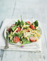 Spinach, Cherry Tomato and Blue Cheese Pasta Salad