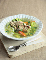 Poached Poussin with Baby Vegetables