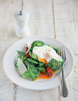 Crunchy Pesto Broccoli with Poached Eggs