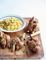 Barbecue Poussin Pieces with Corn and Chilli Salsa