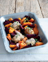 Roast Beetroot, Butternut Wedges and Thyme Thighs