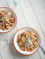 Pasta with Pork and Mushrooms in a White Wine Sauce