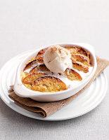 Brioche Pudding with Ice Cream