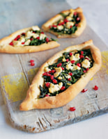 Turkish Pizza with Spinach, Pomegranate and Feta