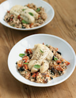 Black Olive and Sunblush Tomato Risotto with Cod