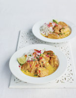 Burmese Coconut Chicken and Rice Noodle Curry