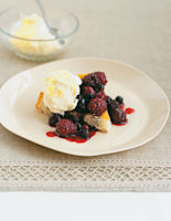 Vanilla and Berry-Soaked Sponge Puddings