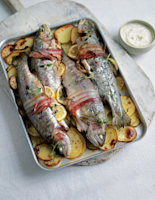 Baked Bacon-Wrapped Trout with Horseradish Sauce