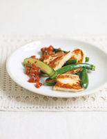 Fried Haloumi and Courgettes with Red Pepper Salsa