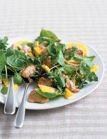 Mango and Spinach Salad with Warm Peanut Chicken