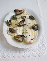 Baked Plaice with Cider and Mussel Sauce