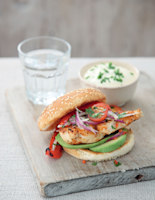 Mexican Chicken Burgers with Tomato Salad