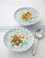 Chilled Coconut Soup with Sizzling Prawns