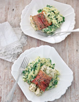 Baked Herby Cod with Gruyère and Spinach Mash