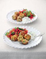 Falafels with Beetroot Salad and Mint Yogurt