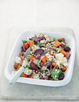 Roasted Carrot and Beetroot Pearl Barley with Feta