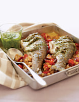 Roasted Trout with Rocket Pesto
