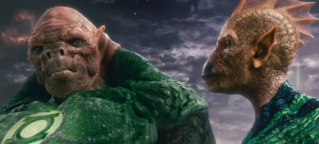(L-r) Kilowog, voiced by MICHAEL CLARKE DUNCAN, and Tomar-Re, voiced by GEOFFREY RUSH, in Warner Bros. Pictures' action adventure