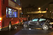 Driver flees after crashing into double decker bus in London