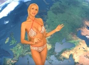 ビキニ姿が眩しいお天気お姉さん、ロシアの地方選挙に立候補し話題に【動画】