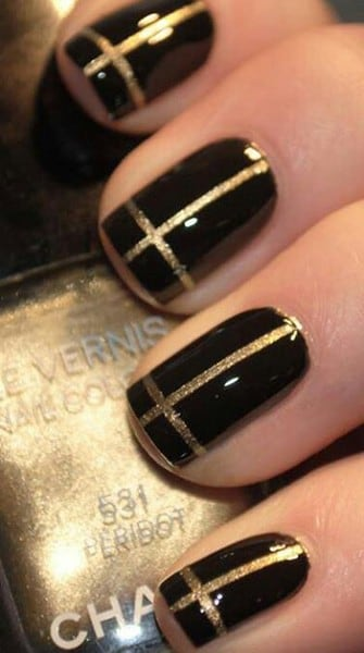 Mani Monday: Black and Gold Nails