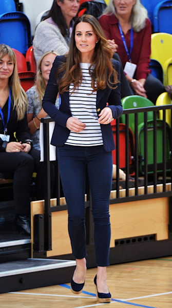 Kate Middleton plays volleyball in wedges, shows off her post-baby bod