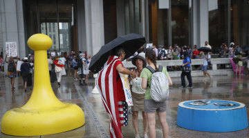 Storms force DNC protesters to seek shelter