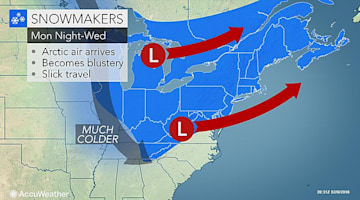 Rounds of snow to make for wintry travel in Northeast Monday to Wednesday