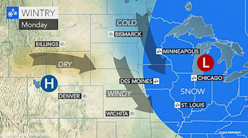 Wintry travel to spread across midwestern US through Monday
