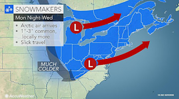 Rounds of snow to create wintry travel in northeastern US this week