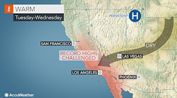 Warmth to challenge records from Seattle to Los Angeles early this week
