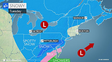 Snow to make roads slushy, icy from DC to Philadelphia, NYC into Tuesday night