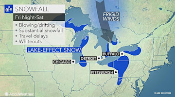 Lake-effect snow to blast Great Lakes snowbelts through the weekend
