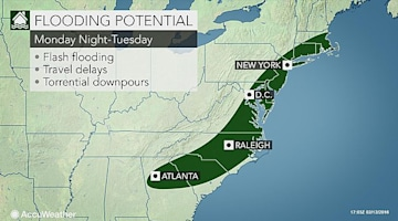 Flooding to threaten over a dozen states across eastern US early next week