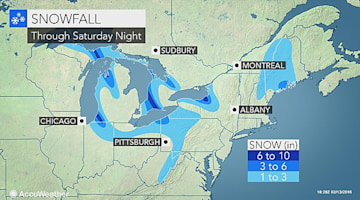 Snow to keep travel slick downwind of the Great Lakes this weekend