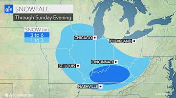 Snow, ice to slick roads from Chicago to St. Louis, Nashville into Sunday night