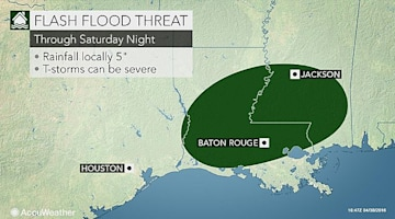 Severe storms to raise flood risk in Deep South Saturday